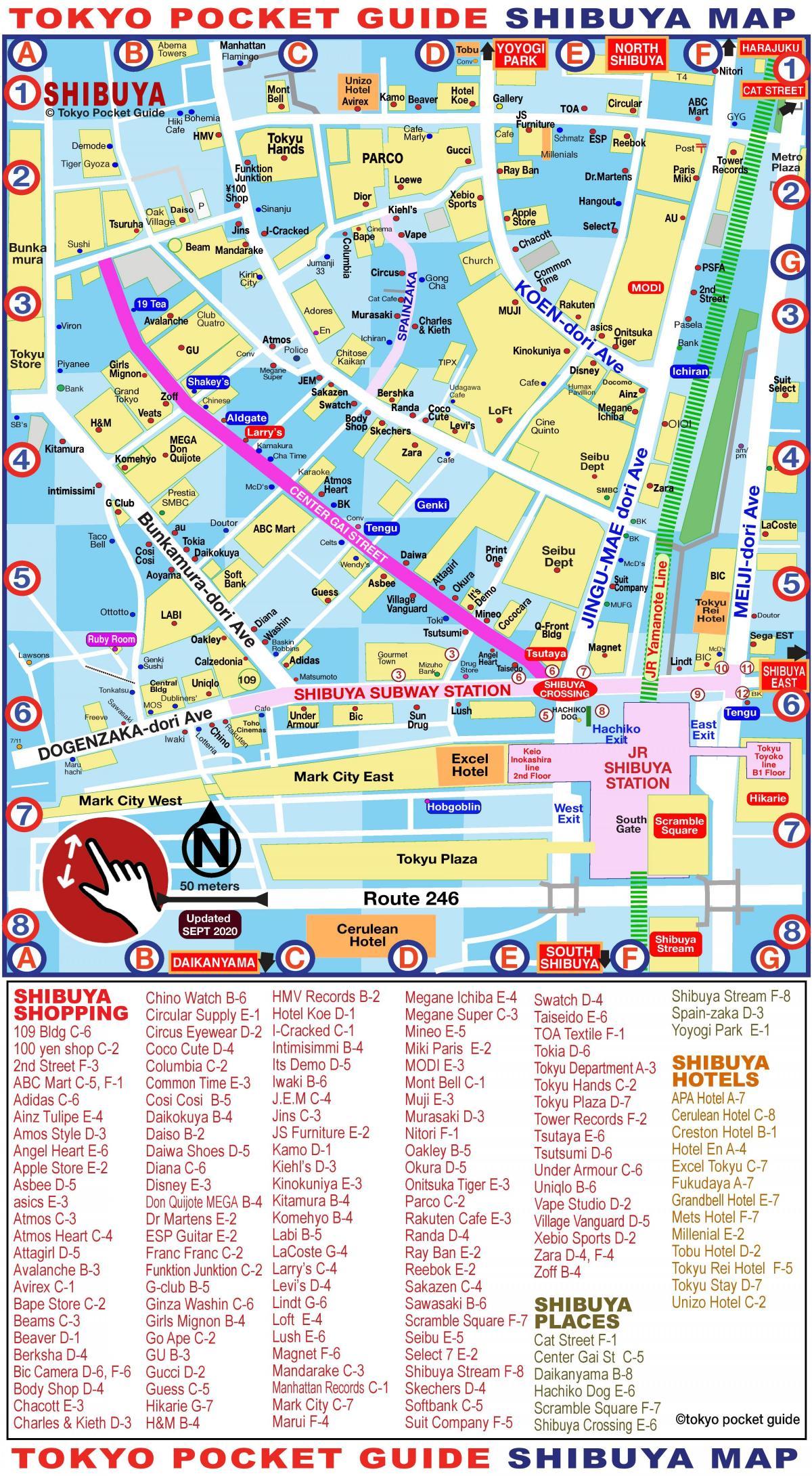 Shibuya Shopping Karta Shibuya Karta Shopping Kantō Japan